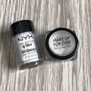 SILVER GLITTER-MAKEUP FOREVER AND NYX